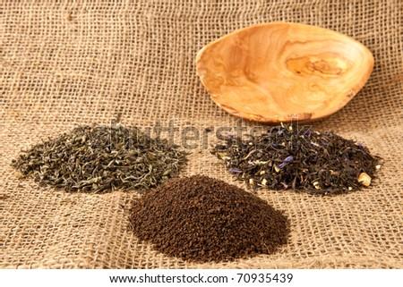 Selection of loose leaf teas - stock photo