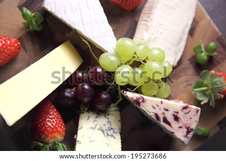 Selection of mature ripe cheeses - stock photo
