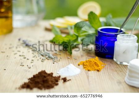 selection of natural beauty products lavender mint lemon aloe vera coconut