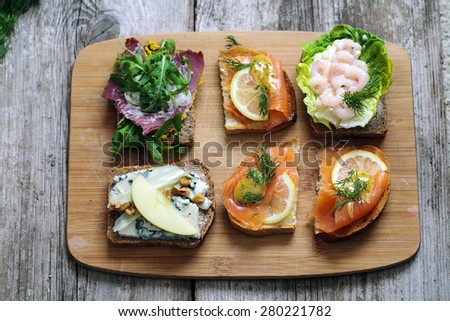 Selection of Nordic open sandwiches - stock photo