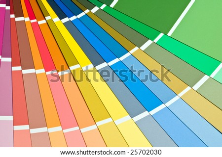 Selection of paint sample swatches fanned out