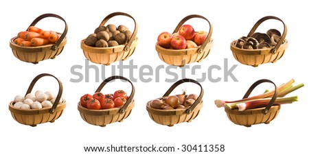 Selection of produce in trugs - isolated on white background for easy extraction - full size individual versions available in our portfolio - stock photo
