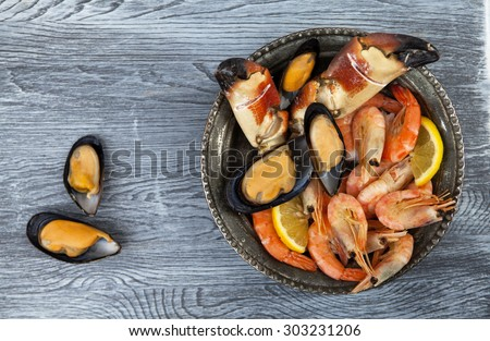 Selection of seafood - stock photo