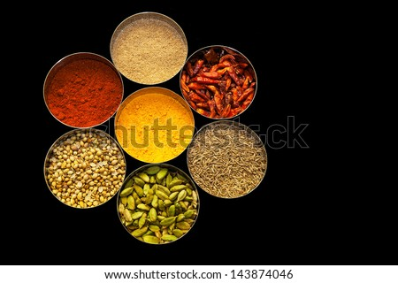 Selection of spices arranged in a circle with black background - stock photo