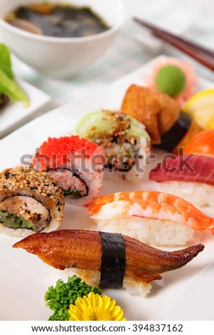 Selection of sushi plate, Japanese food, vertical - stock photo