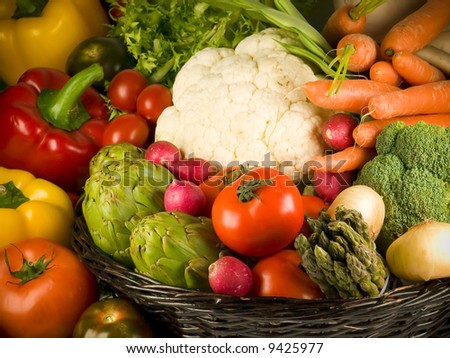 Selection of the most Popular vegetables.
