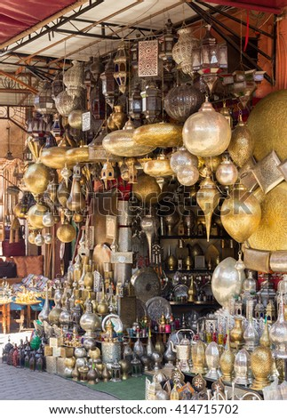 Selection of traditional made lamps on in the souks of Marrakech.