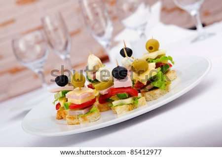 Selection of various canape - stock photo