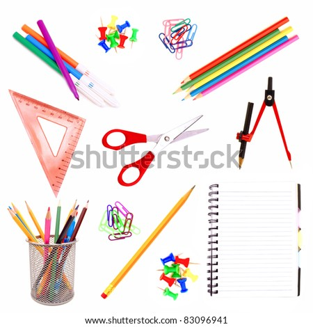 Selection of various individual school supplies on a white background - stock photo