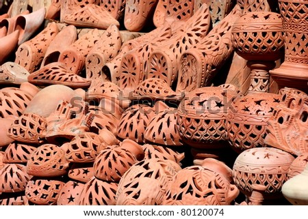 Selection of very colorful Moroccan tajines - stock photo