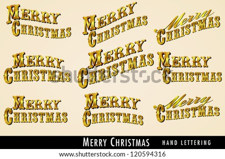 Selection of Vintage Gold Merry Christmas lettering - Raster Version - stock photo
