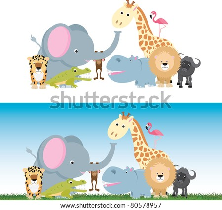 selection of wild animal cartoons including elephants, cats and a monkey - stock photo