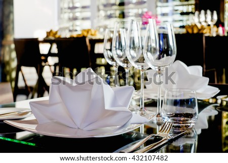 Selective focus at Luxury banquet table - stock photo