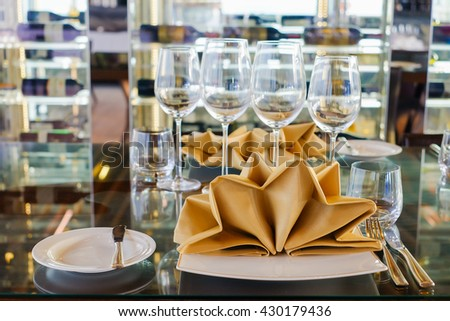 Selective focus at Luxury banquet table , Monochrome - stock photo