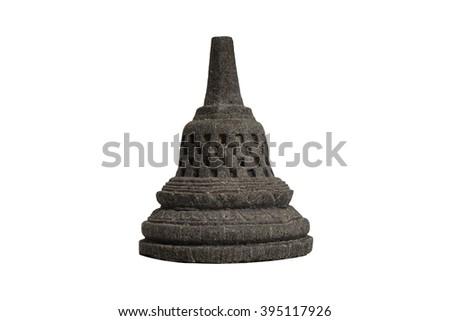 Selective focus Borobudur temple souvenir isolated on white background from Yogyakarta, Java, Indonesia - stock photo