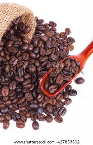 selective focus coffee beans and Wooden Spoon coffee with Bag of coffee a background isolated on white.