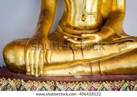 Selective Focus : Hands of Golden Buddha statue, Wat Pho or Pho Temples in Bangkok ,Thailand