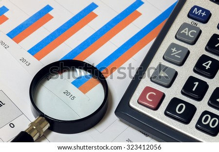 Selective focus magnifier and calculator on chart focus text 2015. - stock photo