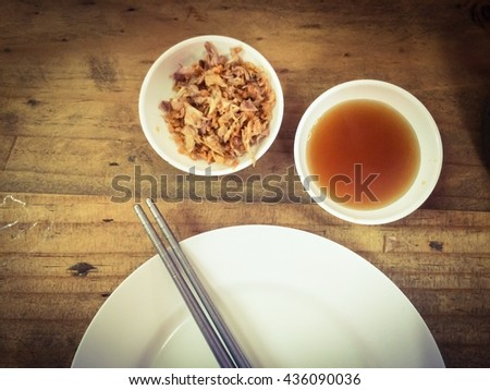 selective focus of sauce of tim sum and dish, prepare for meal - stock photo