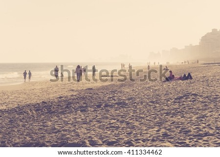 selective focus of the beach of myrtle - stock photo