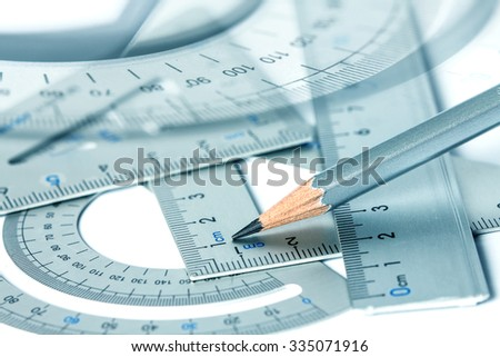 selective focus of  the pencil with precision measurement tool , concept of construction or building design drawing idea - stock photo