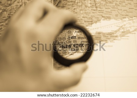 Selective focus on antique map of New York - stock photo