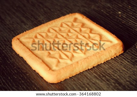 Selective focus on tasty buttery shortbread cookies - stock photo