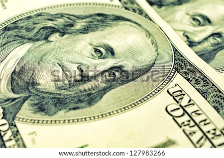 Selective focus on the Benjamin Franklin - stock photo