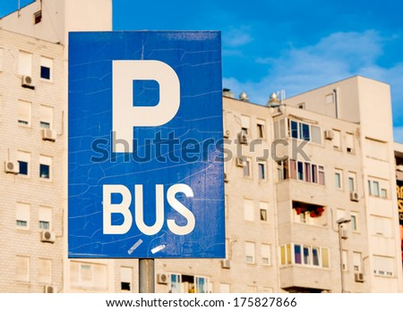 Selective focus on the bus parking sign  - stock photo