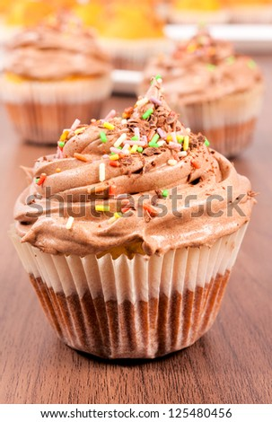 Selective focus on the chocolate cup cake - stock photo