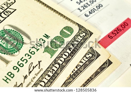 Selective focus on the dollar bills - stock photo