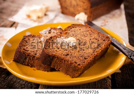 Selective focus on the front  bread slice on plate - stock photo