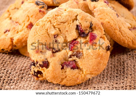 Selective focus on the front cranberry cookie - stock photo