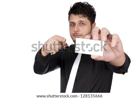 Selective focus on the hand with the blank card - stock photo