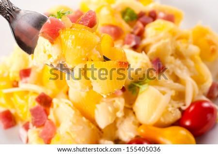 Selective focus on the macaroni on fork - stock photo