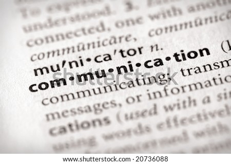 "Selective focus on the word ""communication"". Many more word photos in my portfolio... - stock photo"