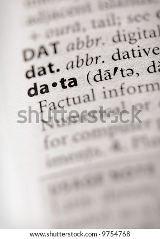 """Selective focus on the word """"data"""". Many more word photos for you in my portfolio... - stock photo"""