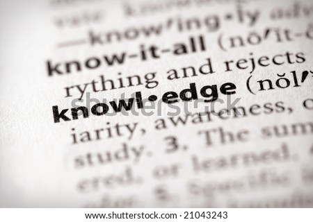 "Selective focus on the word ""knowledge"". Many more word photos in my portfolio... - stock photo"
