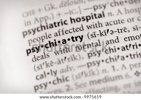 """Selective focus on the word """"psychiatry"""". Many more word photos for you in my portfolio... - stock photo"""