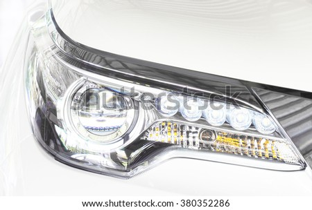Selective focus point on Headlight lamp car