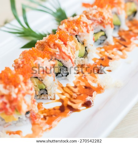 Selective focus point on Sushi roll , japanese food style - soft focus - stock photo