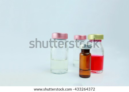 Selective focus vials and blurred background  in the hospital. : medication, drugs, blood, laboratory. Copy space. - stock photo