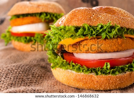 Selective on the front fish burger with vegetables  - stock photo