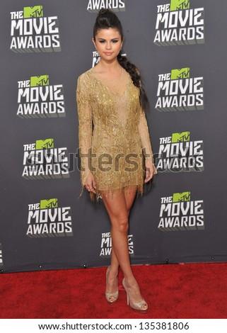 Selena Gomez at the 2013 MTV Movie Awards at Sony Studios, Culver City. April 14, 2013  Los Angeles, CA Picture: Paul Smith - stock photo