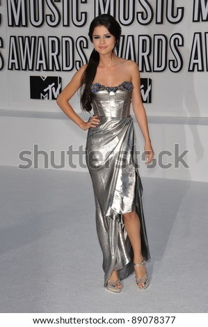 Selena Gomez at the 2010 MTV Video Music Awards at the Nokia Theatre L.A. Live in downtown Los Angeles. September 12, 2010  Los Angeles, CA Picture: Paul Smith / Featureflash - stock photo