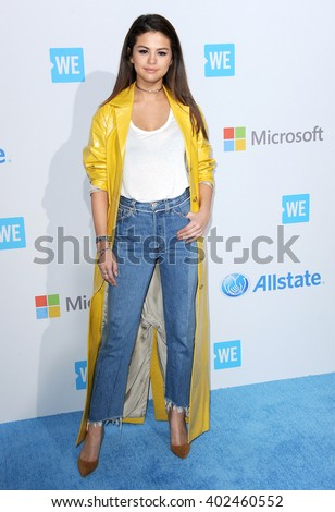 Selena Gomez at the WE Day California held at the Forum in Inglewood, USA on April 7, 2016. - stock photo