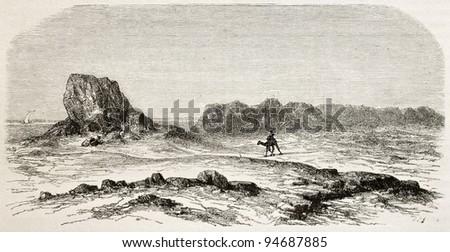 Seleucia old view, Mesopotamia (nowadays Iraq). Created by De Bar after Lejean, published on Le Tour du Monde, Paris, 1867 - stock photo