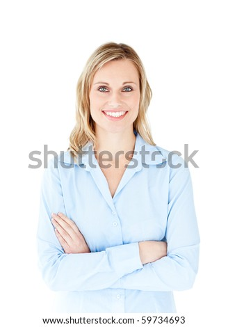 Self-assured businesswoman with folded arms smiling at the camera against a white background - stock photo