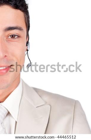 Self-assured customer service representative using headset against a white background - stock photo