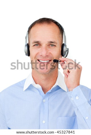 Self-assured mature businessman using headset against a white background